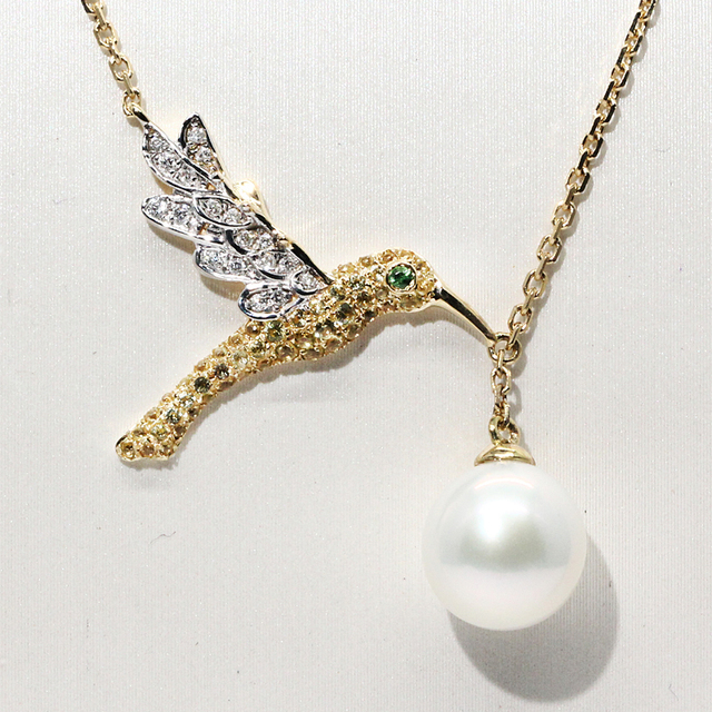 18K Yellow Gold 8mm Akoya Pearl Real Diamond Pendant Necklace