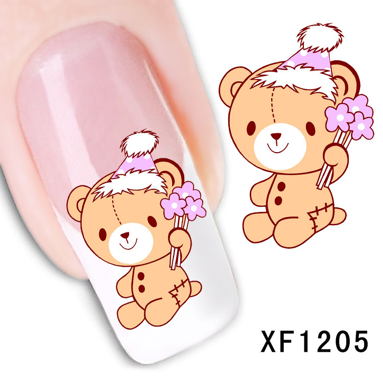 waterproof Water Transfer Nails Art Sticker cartoon bear design girl and women manicure tools Nail Wraps XF1205 2016 cartoon design nail art manicure tips water transfer nail stickers paradise vacation desgins nails wraps collections decor