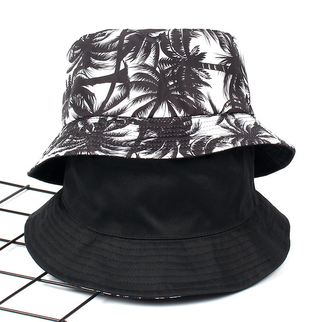 10pcs lot 01808-luyi251 black Hawaii tropical coconut trees folding bucket  cap men woman fishmen hat wholesale 821f6474b87