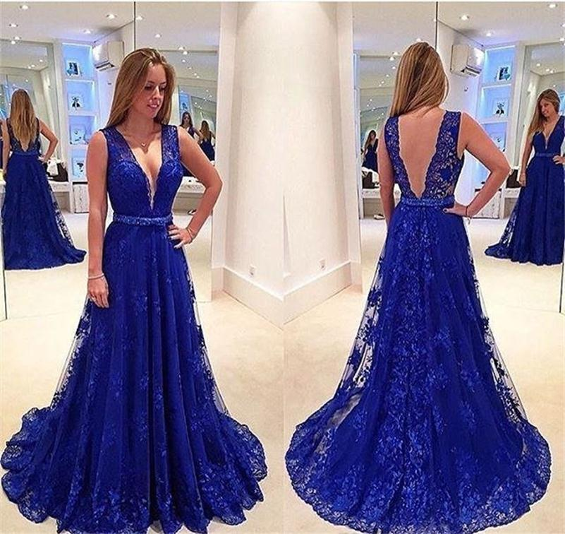 2017 New Elegant Robe De Soiree Deep V  Royal Blue Lace Prom Dress Open Back Sleeveless A Line Formal Prom Party Gown for Women