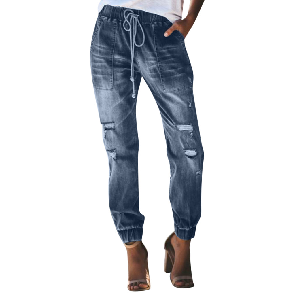 Korean Design Women Casual Denim Jeans Autumn Broeken Trousers Trend Streetwear Fashion Ladies Loose Pants Pantalones Mujer #W