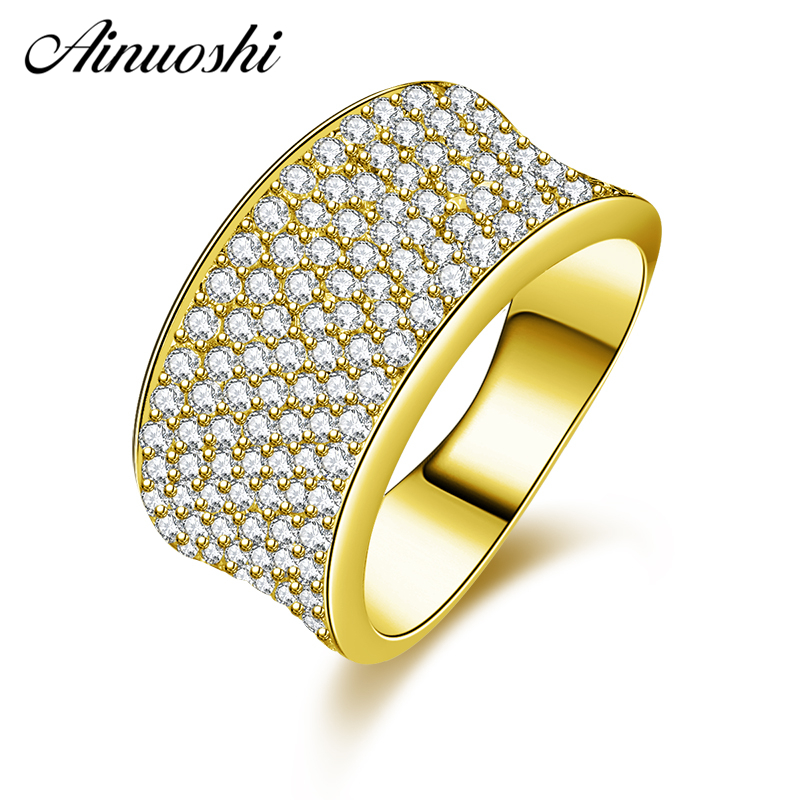 AINUOSHI 10K Solid Yellow Gold Wedding Band Shinning 7 Rows Drill Cluster Ring Luxurious Engagement Ring Jewelry for Woman GirlAINUOSHI 10K Solid Yellow Gold Wedding Band Shinning 7 Rows Drill Cluster Ring Luxurious Engagement Ring Jewelry for Woman Girl