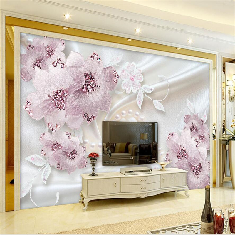 beibehang papier peint wallpaper for walls 3 d Custom wallpaper Luxury diamond flowers 3d jewelry TV background wall murals in Wallpapers from Home Improvement