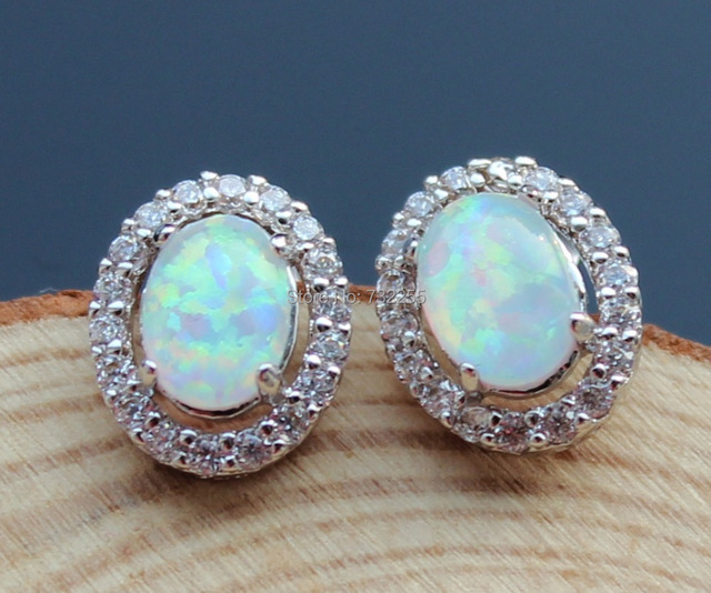 New Designed Oval Shape Nice White Fire Opal Stud Earrings For Women