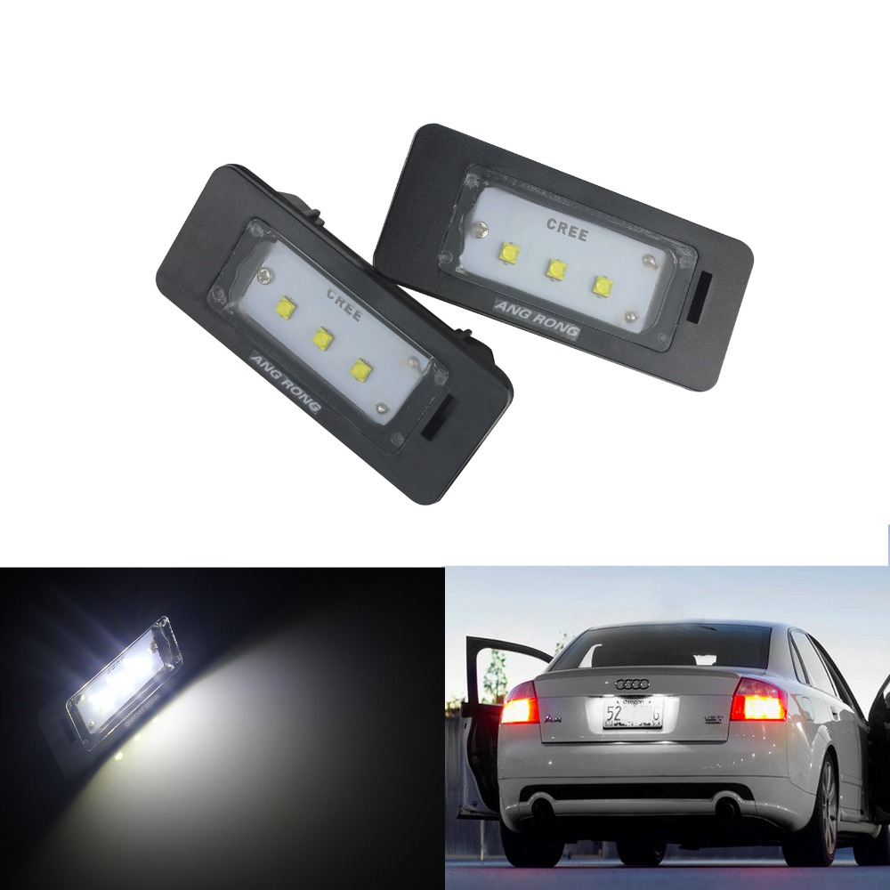 Number Plate LED Light Lamp Bulbs 3SMD For Audi A2 A3 A4 A6 TT License Blue
