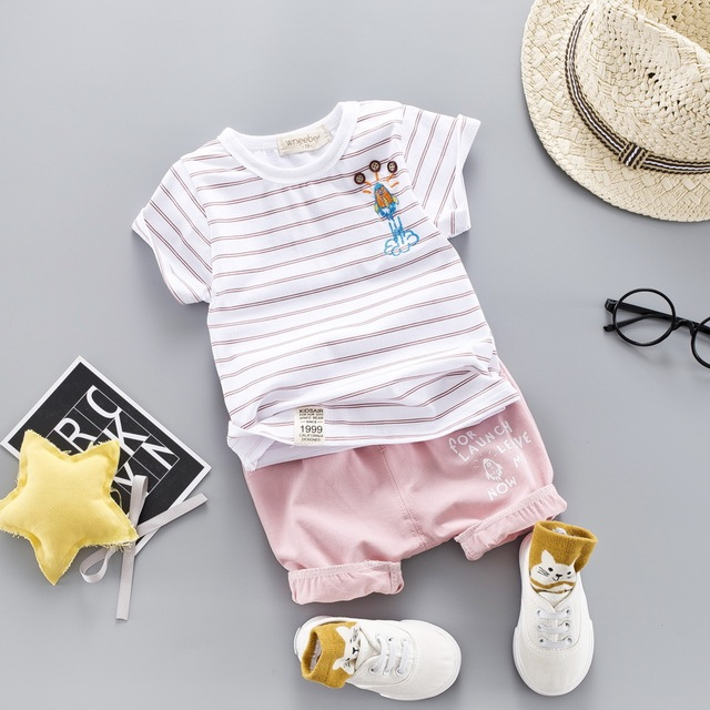 2-Pieces Small Plane Logo Striped Top with Pants Set for Baby / Toddler Boy