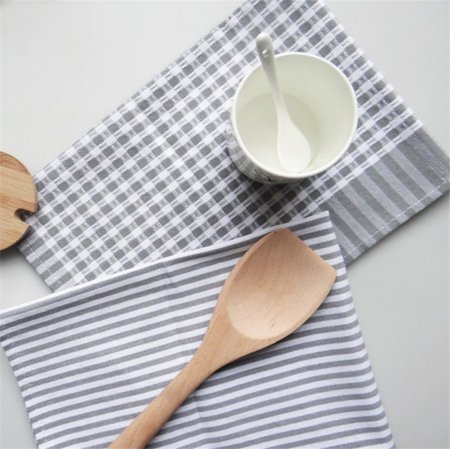 US $2.83 14% OFF|Plaid and stripes Cotton Textile Napkin Nordic Pastoral  Wind Home Use Kitchen Towel Fabric Tablemat Coffee and Tea Pad-in Table ...