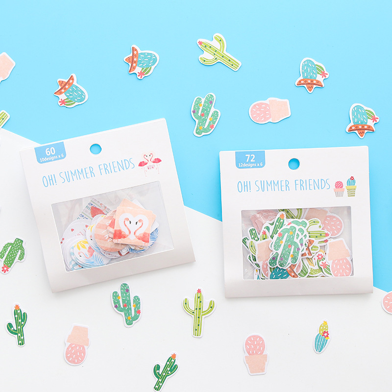 Japanese Kawaii Flamingo/cactus Stickers Scrapbooking Pack Creative DIY Journal Decorative Adhesive Labels Stationery SuppliesJapanese Kawaii Flamingo/cactus Stickers Scrapbooking Pack Creative DIY Journal Decorative Adhesive Labels Stationery Supplies
