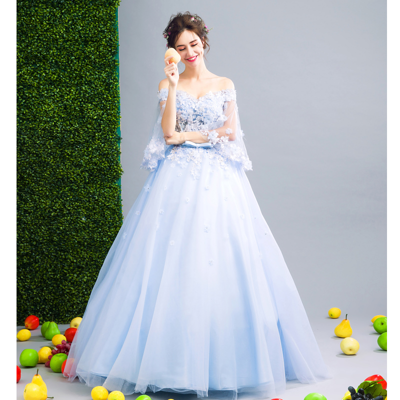 Walk Beside You Blue Sweet 16 Dresses Ball Gowns Quinceanera Dresses 3/4 Sleeves Floral Lace Applique Dress for Masquerade - 3