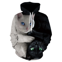 2018 3D hoodie men's and women's hooded sweatshirt two cats 3D printing hoodie casual pullover street blouse autumn regular fash