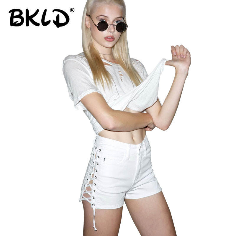 BKLD 2018 Summer Solid Lace Up Women Denim Shorts Women High Waisted Shorts Sexy Bandage Jeans Shorts Female Ripped Short Pants