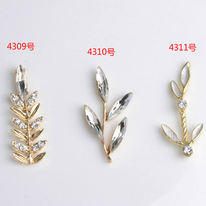 Image 2 - 50pcs/lot Multi style Fashion Alloy Gold Color Crystal Leaf Branch (no hole) Charms For DIY Jewelry Handmade Making
