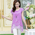 Elegante Verão Mulheres da Cópia Floral Longo Tops Asymmetric Hem Blusa Chiffon T Camisa Plus Size M-XXXL