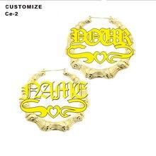 Personalised round Custom Design Bamboo Name Earrings