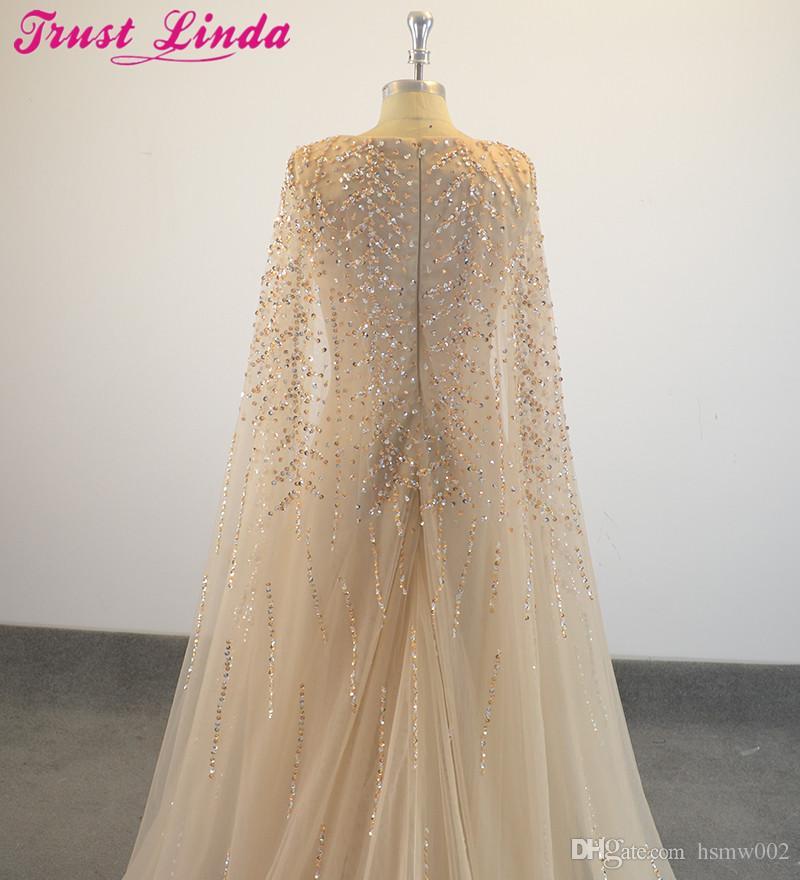 Robes de soirée formelles élégantes perles de cristal tige de selle Cape robe de soirée tenue de soirée - 2