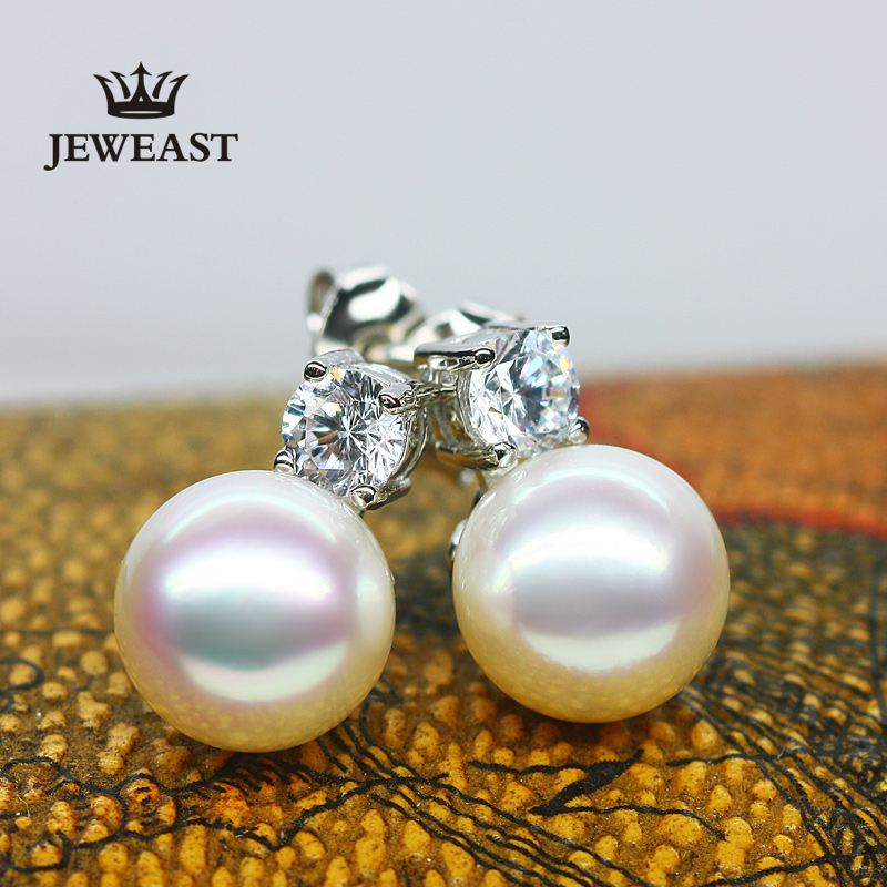 18k Pure Gold Japan Akoya Pearl Earring Seawater Pearls Solid 8mm Beads Round Send Mom Women Lady Female Gift Party 2017 New-in Earrings from Jewelry & Accessories    1