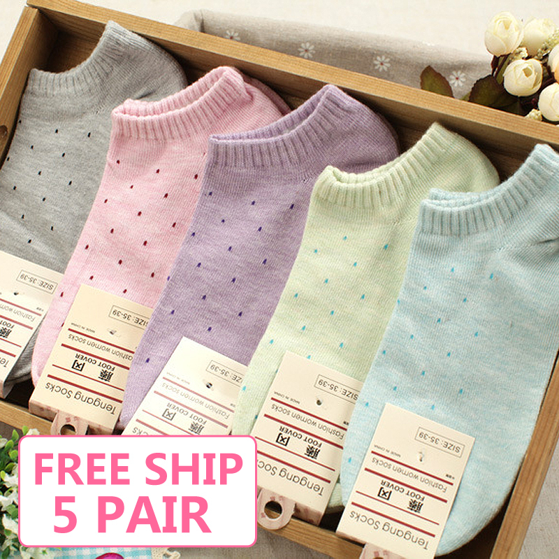 Hot sale!1lot=10pcs=5pair cotton socks cute polka dot women socks soft candy invisible short socks hosiery female Wholesale 1