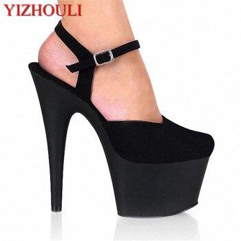 sexy fashion black flock high heel shoes 15cm Exotic Dancer pole dancing shoes Platforms sandals for women