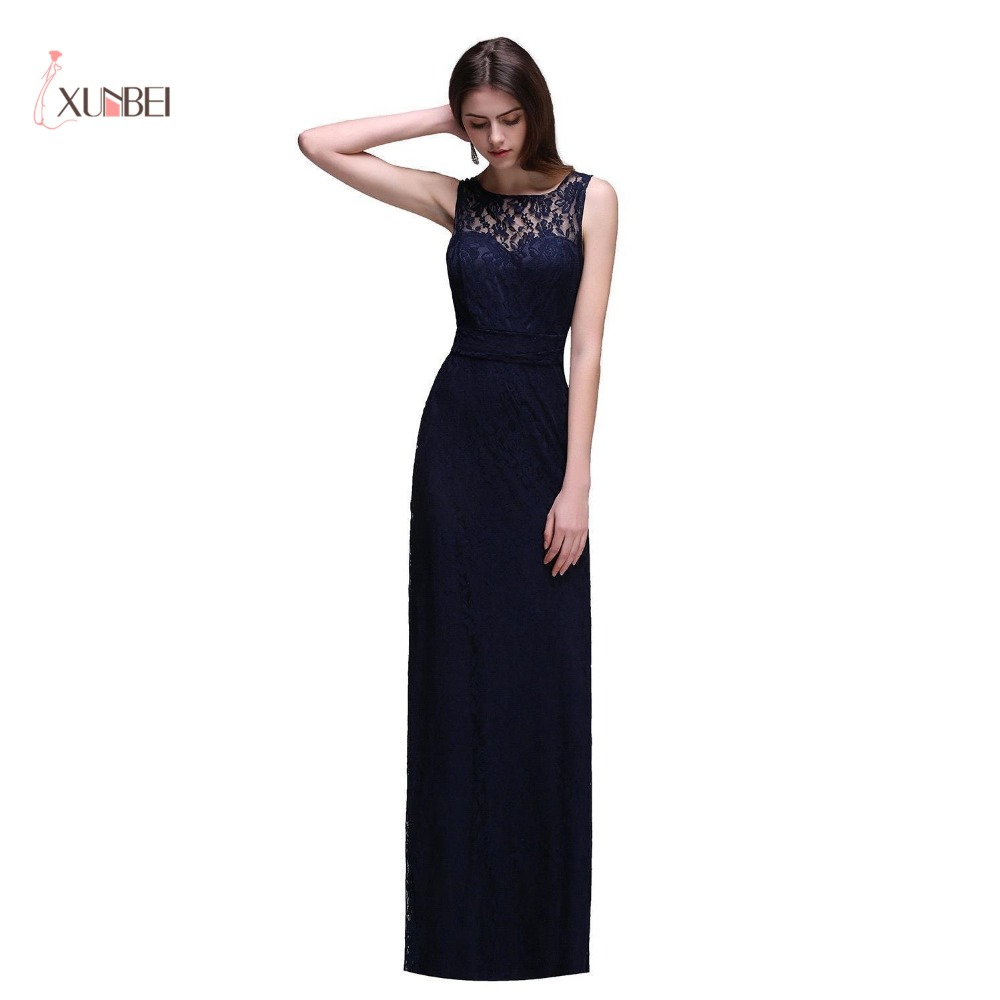 Elegant Navy Blue Lace Long Evening Dresses 2018 Women Backless ...