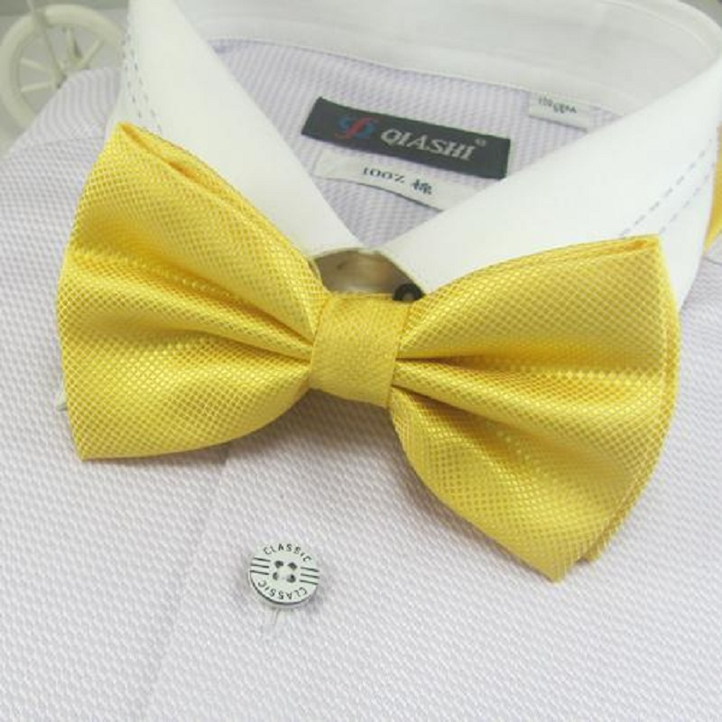 Men's Solid Bowtie Bows Yellow Tie Knots Neck Ties Necktie Butterflies Neckwear
