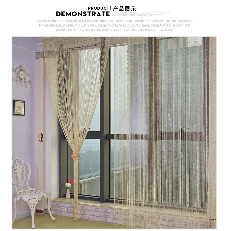 Pa.an Glitter Curtain Silver String Shining Beads Tulle Window Valance  Door Wall Decorative Home Wedding Parties Celebration