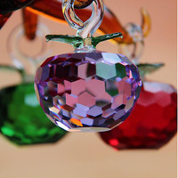 50mm Cut Crystal Glass Apple Christmas Hanging Tree Decoration Crystal Crafts Home Wedding Party Ornaments 7