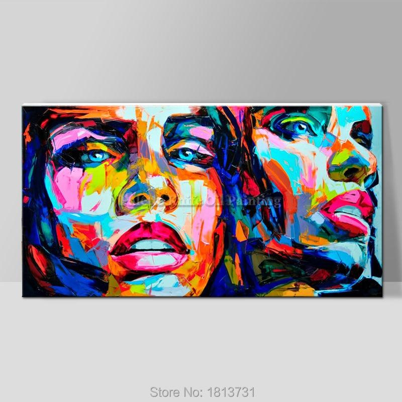 Palettknivmålningsporträtt Ansikte Oljemålning Impasto figur på - Heminredning - Foto 4