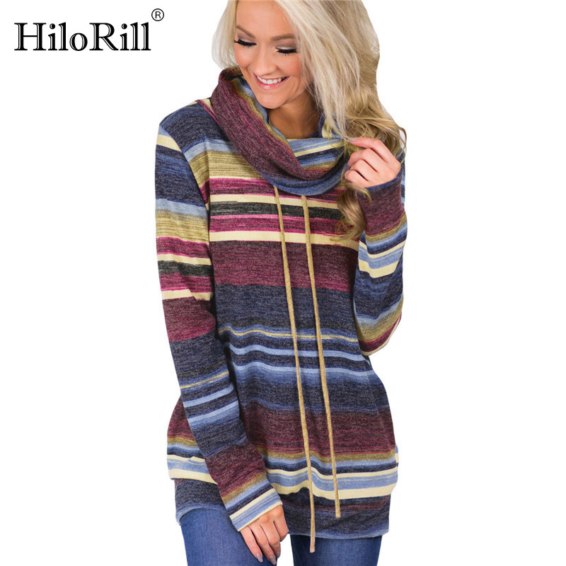 Turtleneck Sweater Women Autumn Winter Long Sleeve Sweater 2019 Striped Multicolor Casual Pullover Lace Up Knitted Sweater Tunic(China)