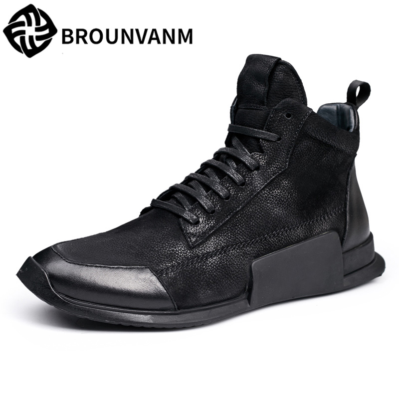High men casual shoes retro British matte leather shoes  breathable sneaker shoes tide young personality