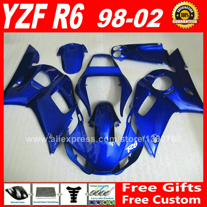 All blue DIY fairings fit for YAMAHA R6 YZFR6 1998 1999 2000 2001 2002 ABS plastic parts yzf-r6 98 99 00 01 02 fairing kits E3S5 7 gifts motorcycle abs fairings kits for 2003 2004 2005 yamaha yzfr6 blue black yzf r6 03 04 05 fairing kit body repair parts