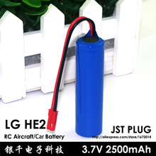 100% New 3.7v 2500mAh 20A Max 30A RC Rechargeable battery RC JST Plug Helicopters boats Car 4.2V Batteries for LG HE2