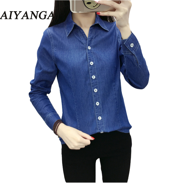 26c9910d1 New 2018 Chic Fashion Denim Shirt Women Clothing Casual Jeans Shirt Dark  Blue Turn Down Collar