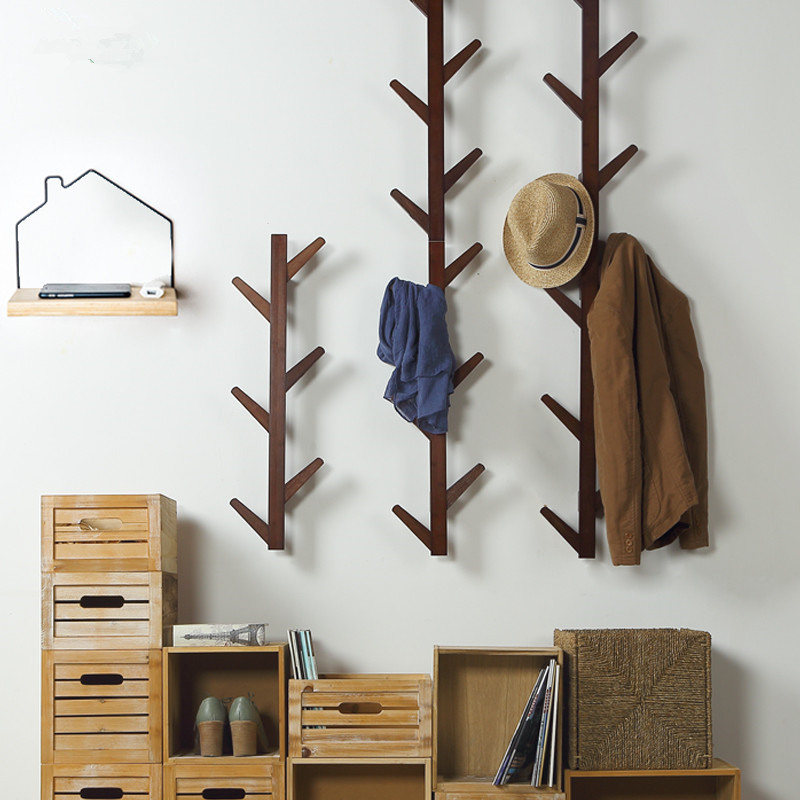 6 Hooks Vintage Bamboo Wooden Hanging Coat Rack Hook Clothes Hanger Stand Branch Shape Clothing Rack Wall Housekeeper Hanger