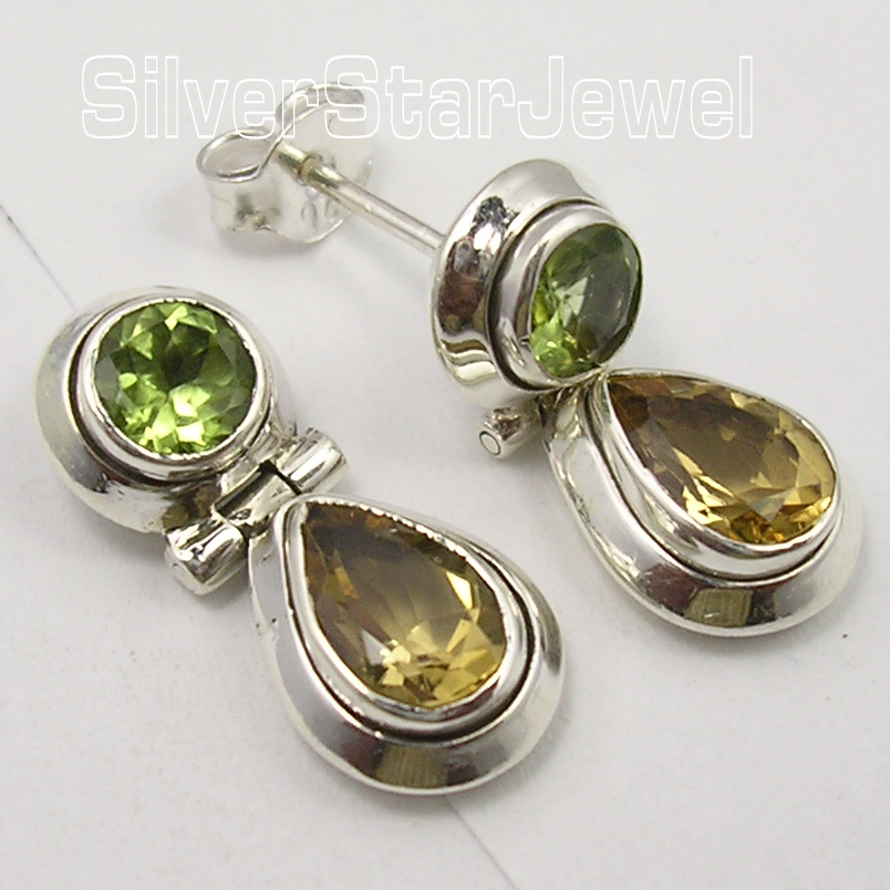 Chanti International Solid Silver Genuine PERIDOT Citrines 2 STONE Studs Posts Earrings 2 1 CM