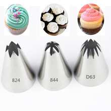 3pcs Big Cream Cake Decoration Piping nozzle set Pastry Tools Stainless Steel Icing tips Cupcake Head