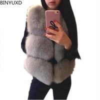 New 2017 Winter Women's Thick Warm Faux Fox Fur Vest High Quality Fashion O Neck Short Fur Coat For Women Outwear