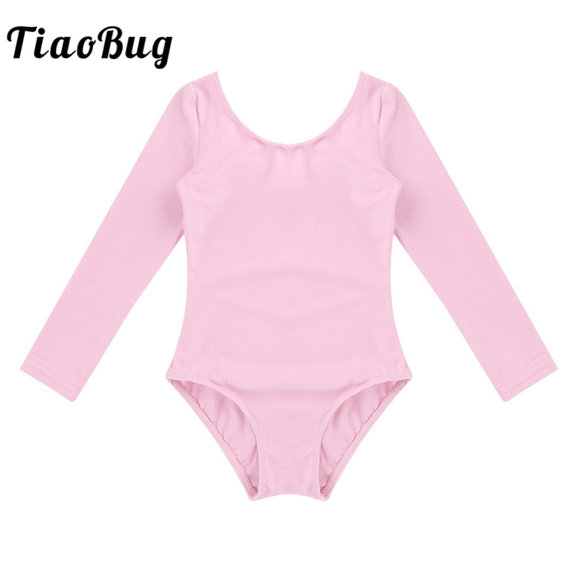 TiaoBug Girls Long Sleeve Ballet Dance Leotard Children Professional Gymnastics Leotard Sports Bodysuit Kids Stage Dance Costume