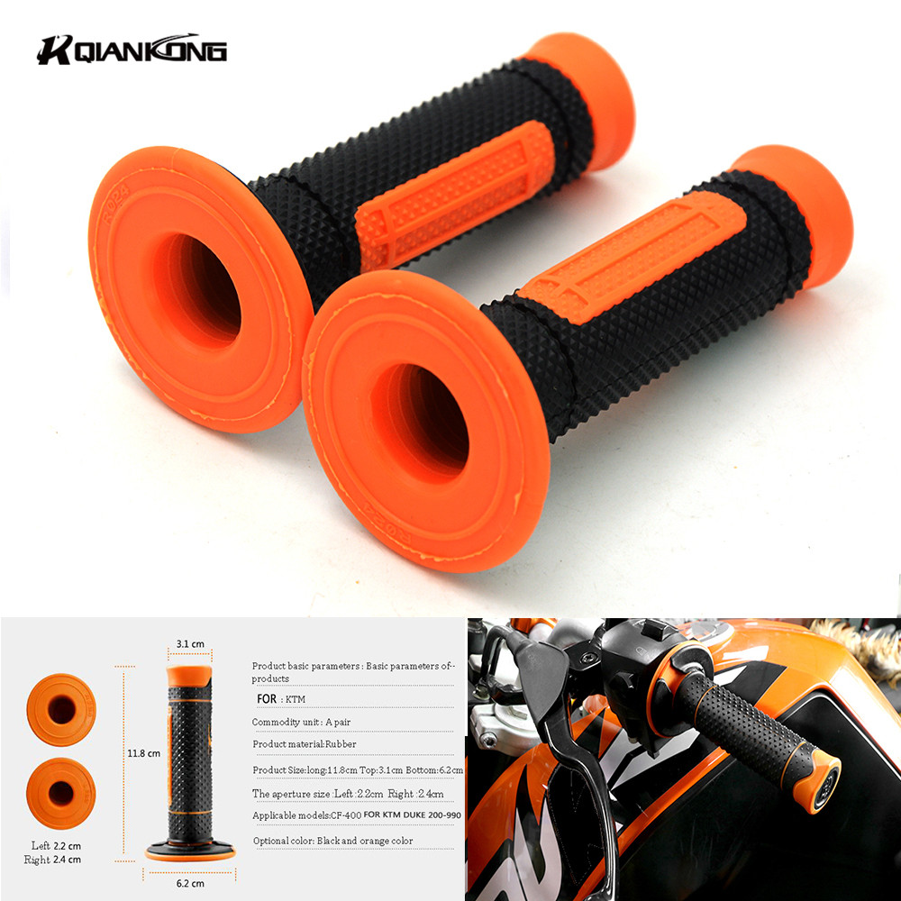 Left 22mm & Right 24mm Rubber Motorcycle Handle Bar Motorbikes Hand Grips For ktm exc duke 350 duke 200 690 for KTM LOGO