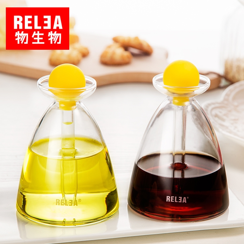Squeeze Soy Sauce Vinegar Olive oil Cruet jar Crystal glass precision kitchen sauce pot Borosilicate glass Seasoning bottle