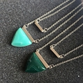 Free Shipping Two Layers Sweet Pendant Triangle Stone Necklace