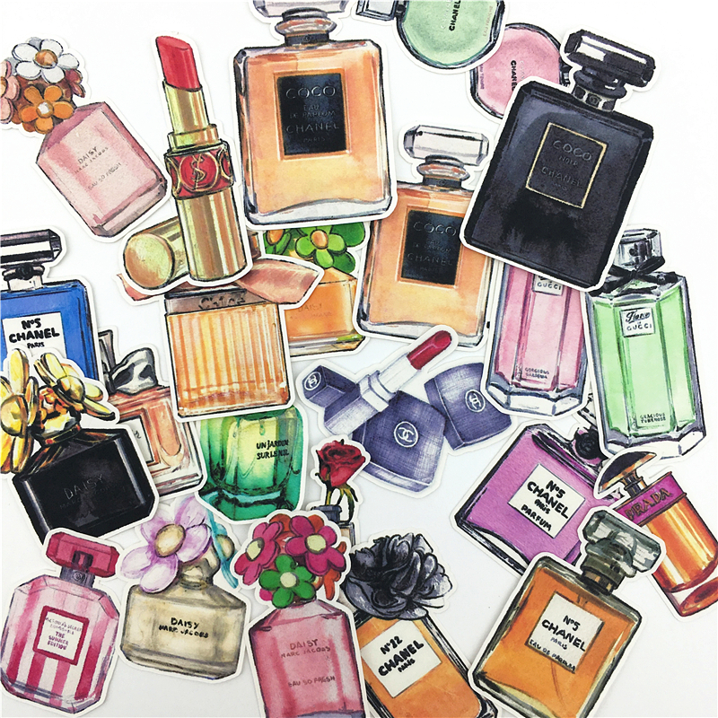 39pcs Hand Drawing Watercolor Stikers Perfume Bottle Decorative Stickers For Notebook Planner Scrapbooking, DIY Paper Sticker