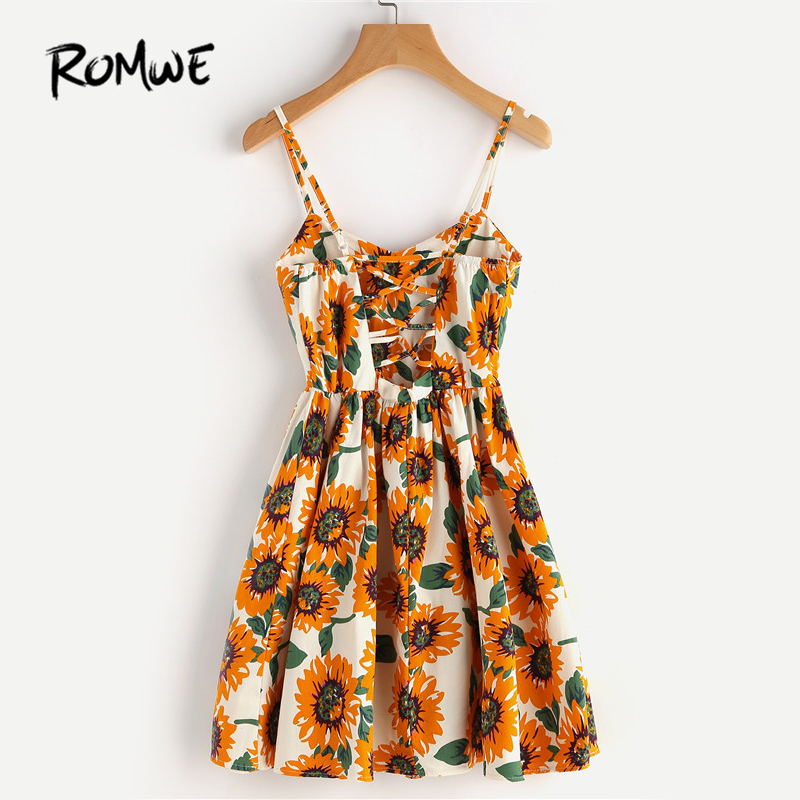 99107cc6614 ROMWE Random Sunflower Print Spaghetti Strap Dress