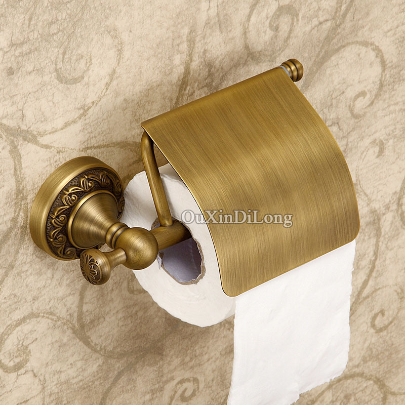 Wall Mounted Luxury Bathroom Antique Brass Carving Toilet Paper Holder With Cover Wall Mounted Toilet Paper Roll Rack GD07 bathroom accessory antique brass wall mounted copper toilet paper roll holder free shipping aba037