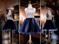 2017 New Navy Blue A Line Cocktai Dress Sleeveless Sheer Neck Crystal Beaded Knee Length Formal Prom Party Homecoming Dress