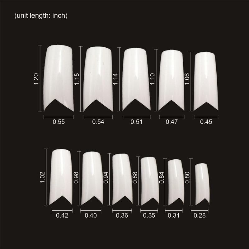 500pcs Long False Nails V Shapes French Nail Tips White ABS Fake ...