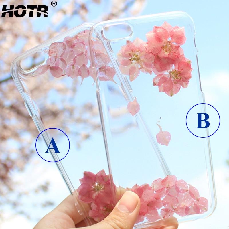 Hotr flor de verdad seca cajas del teléfono para iphone 6 6 s 6 plus para iphone 7 7 plus transparente ultra delgado tpu case back cubierta