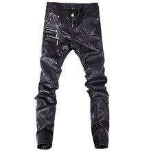Новые модные мужские кожаные штаны, обтягивающие мотоциклетные прямые джинсы, повседневные брюки, размер 28-36, A103
