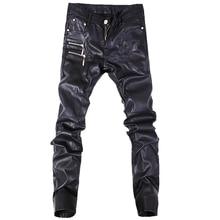 Nova moda dos homens calças de couro magro da motocicleta jeans reta casuais tamanho 28-36 A103