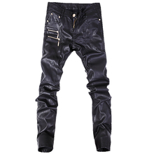 Pantalones vaqueros rectos ajustados para hombre, pantalón de cuero, a la moda, talla 28 36, A103