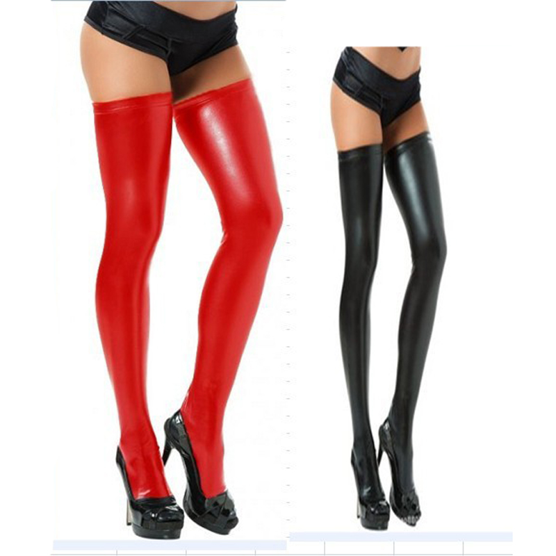 Women's Black Red Sexy Faux Leather Wet Look Stockings Costume Thigh High Stay Up For Clubwear Stripper DS Bar Party Free Size